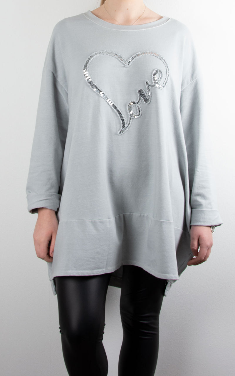 Love Heart Sequin Sweat | Grey
