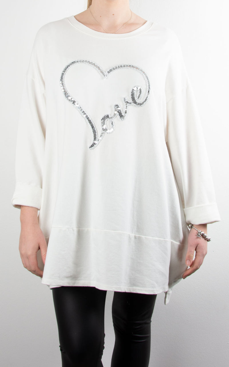 Love Heart Sequin Sweat | Winter White