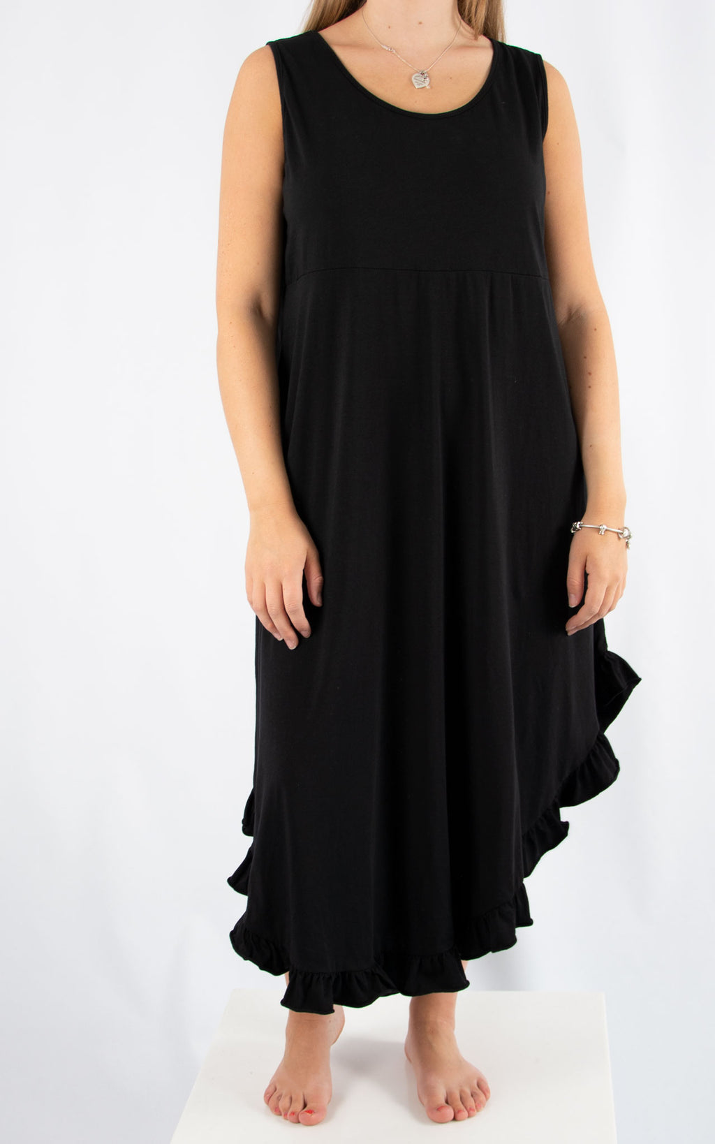 Black Ruffle Maxi Dress | Made in Italy