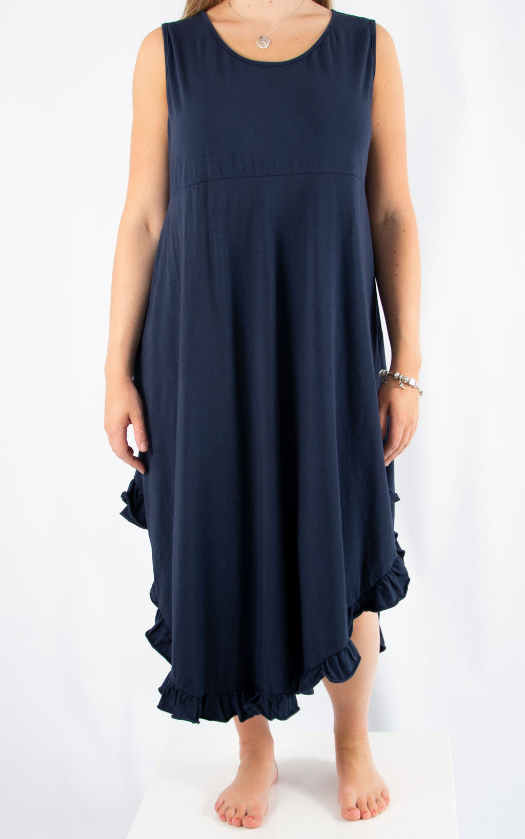 Navy Ruffle Maxi Dress | Made in Italy