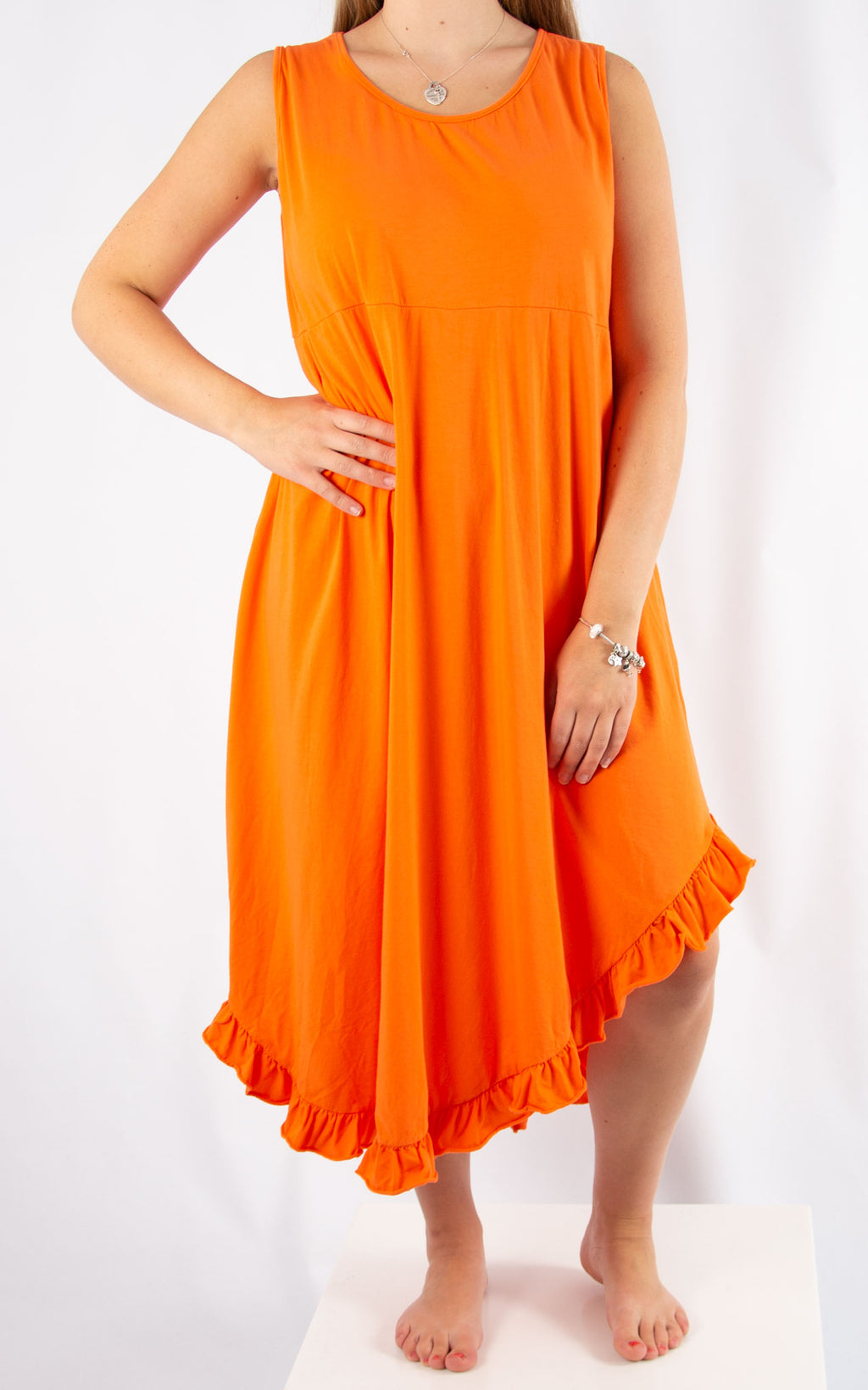Orange Ruffle Maxi Dress | Made in Italy