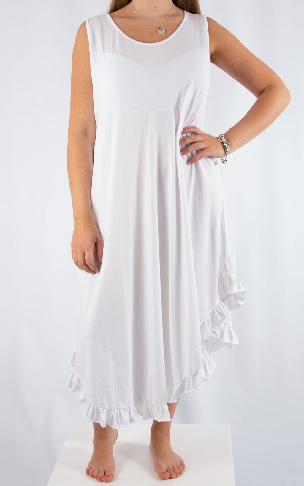 White Ruffle Maxi Dress | Made in Italy