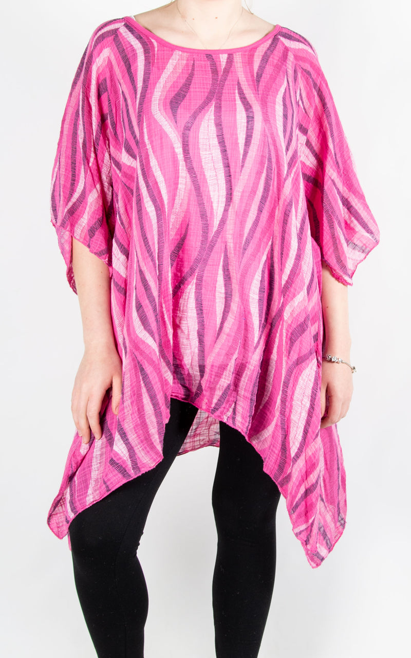 Mel Cheesecloth T | Wave | Hot Pink