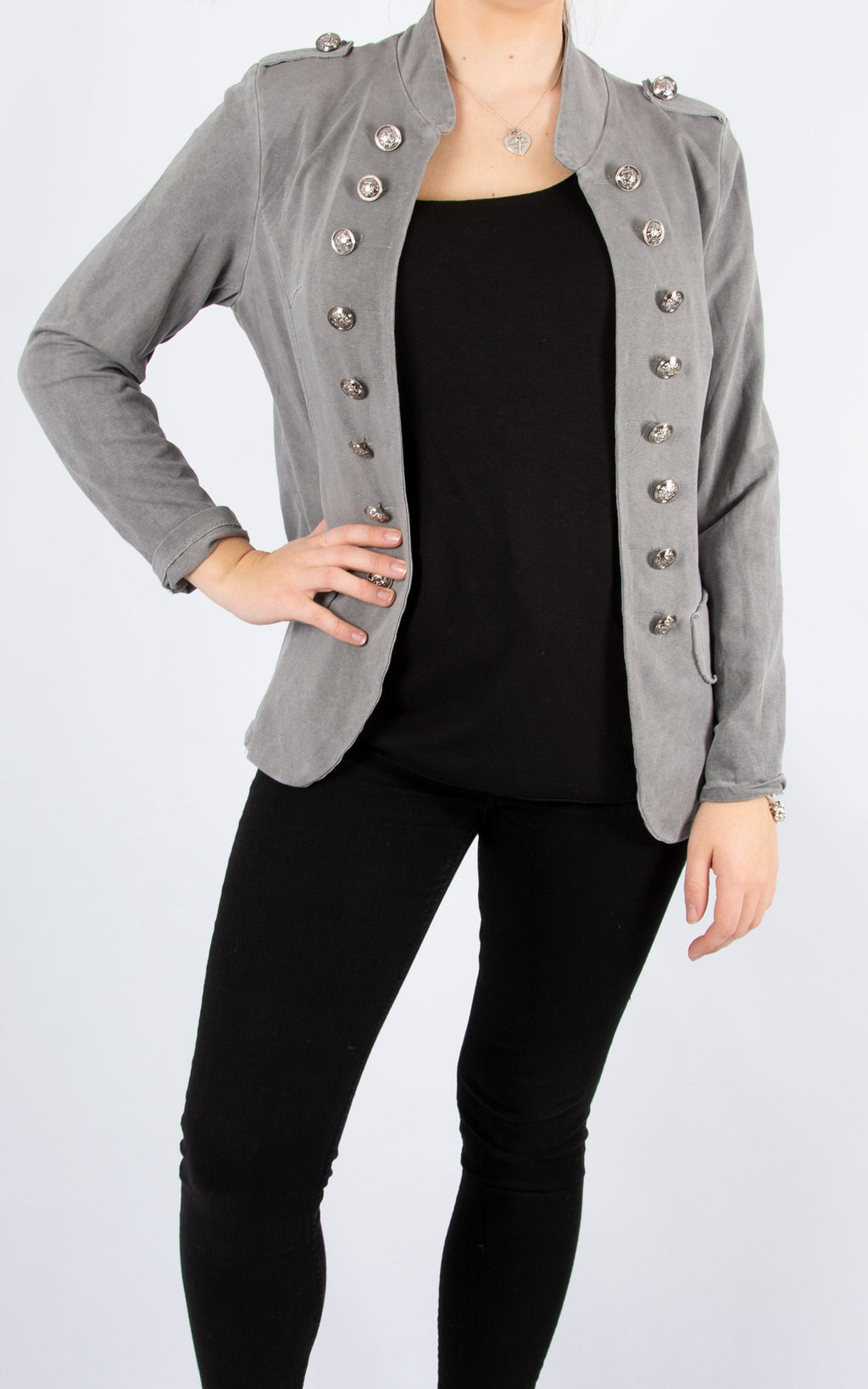 Military Style Jacket | Grey