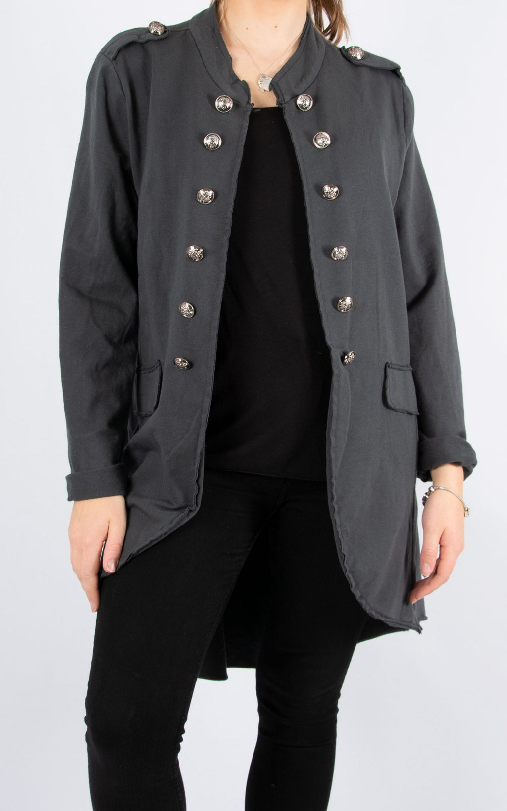 Military Style Jacket | Long | Charcoal