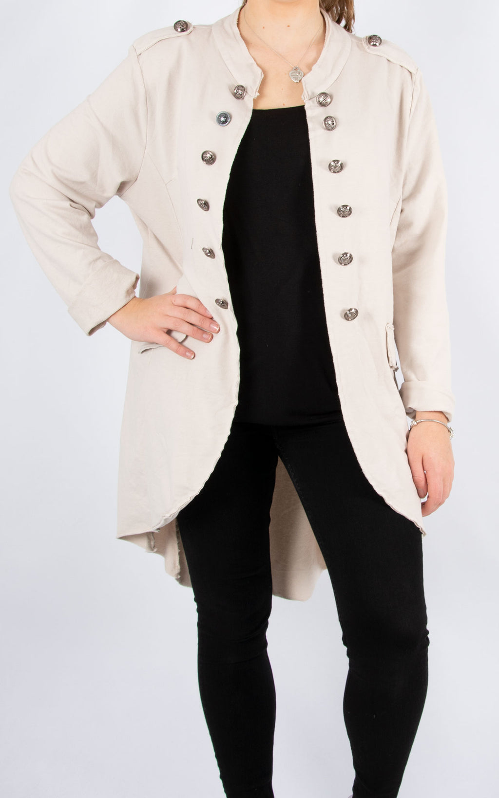 Military Style Jacket | Long | Cream