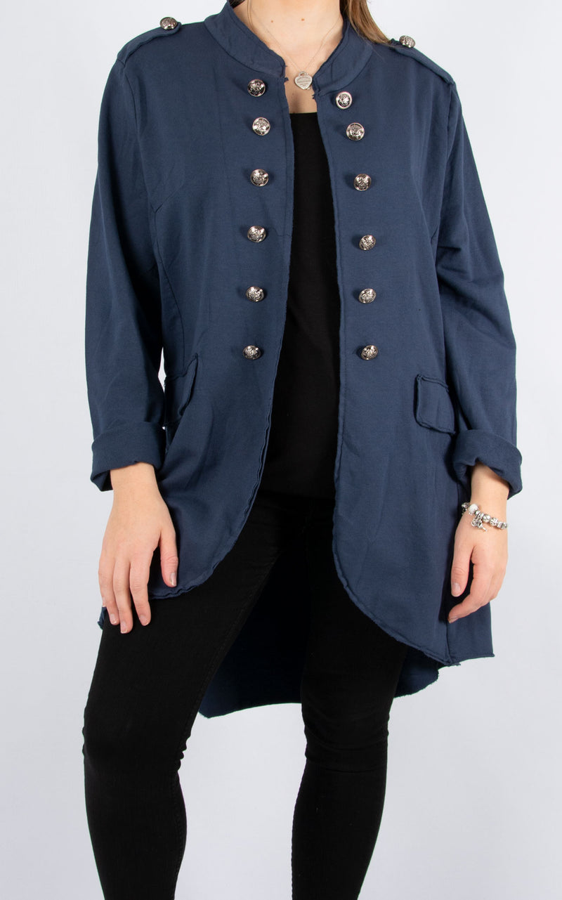 Military Style Jacket | Long | Navy