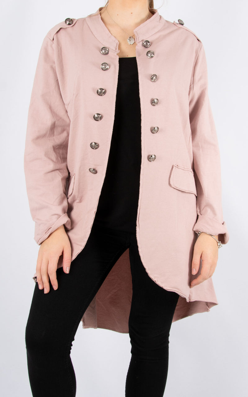 Military Style Jacket | Long | Pink