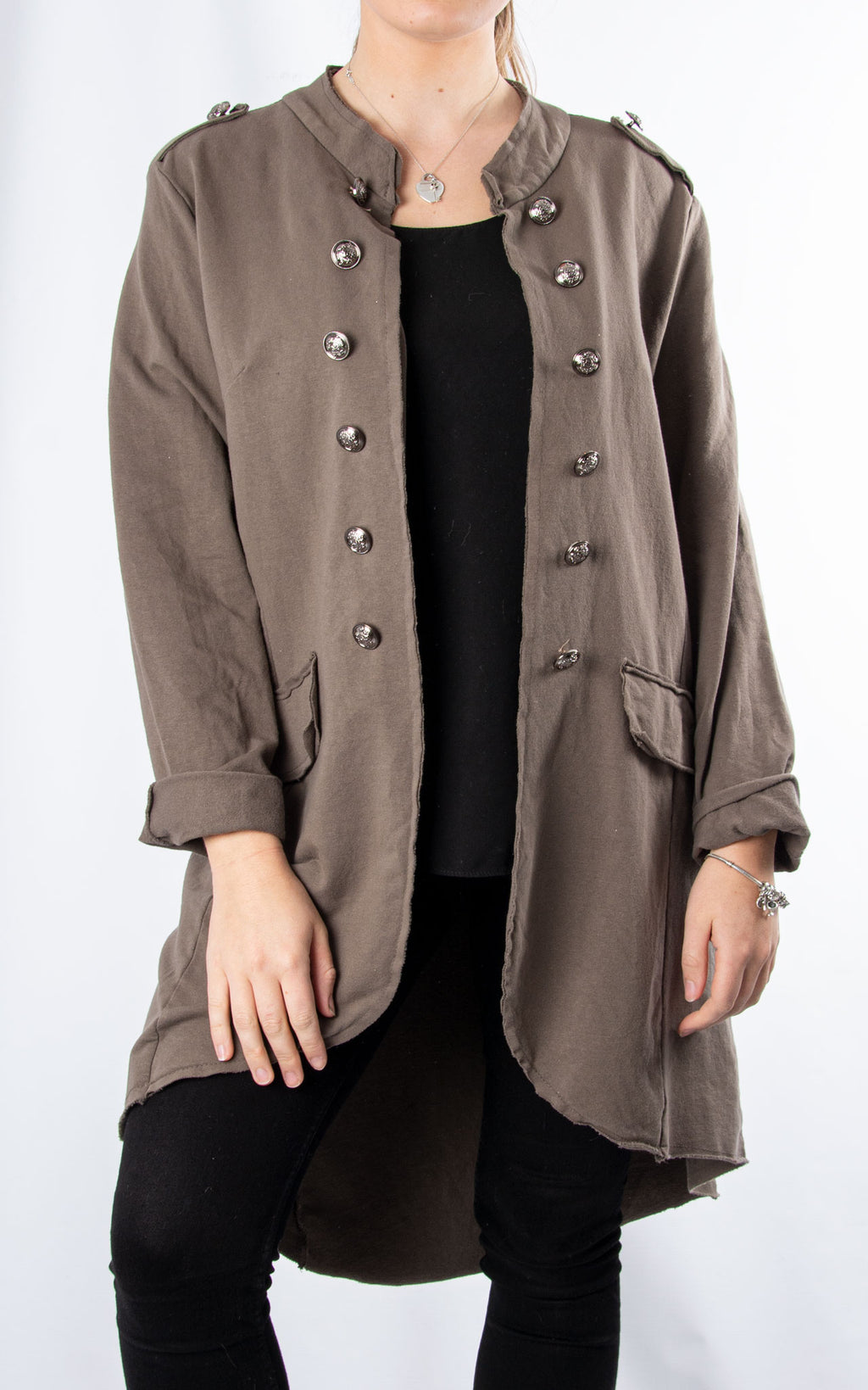 Military Style Jacket | Long | Mocha