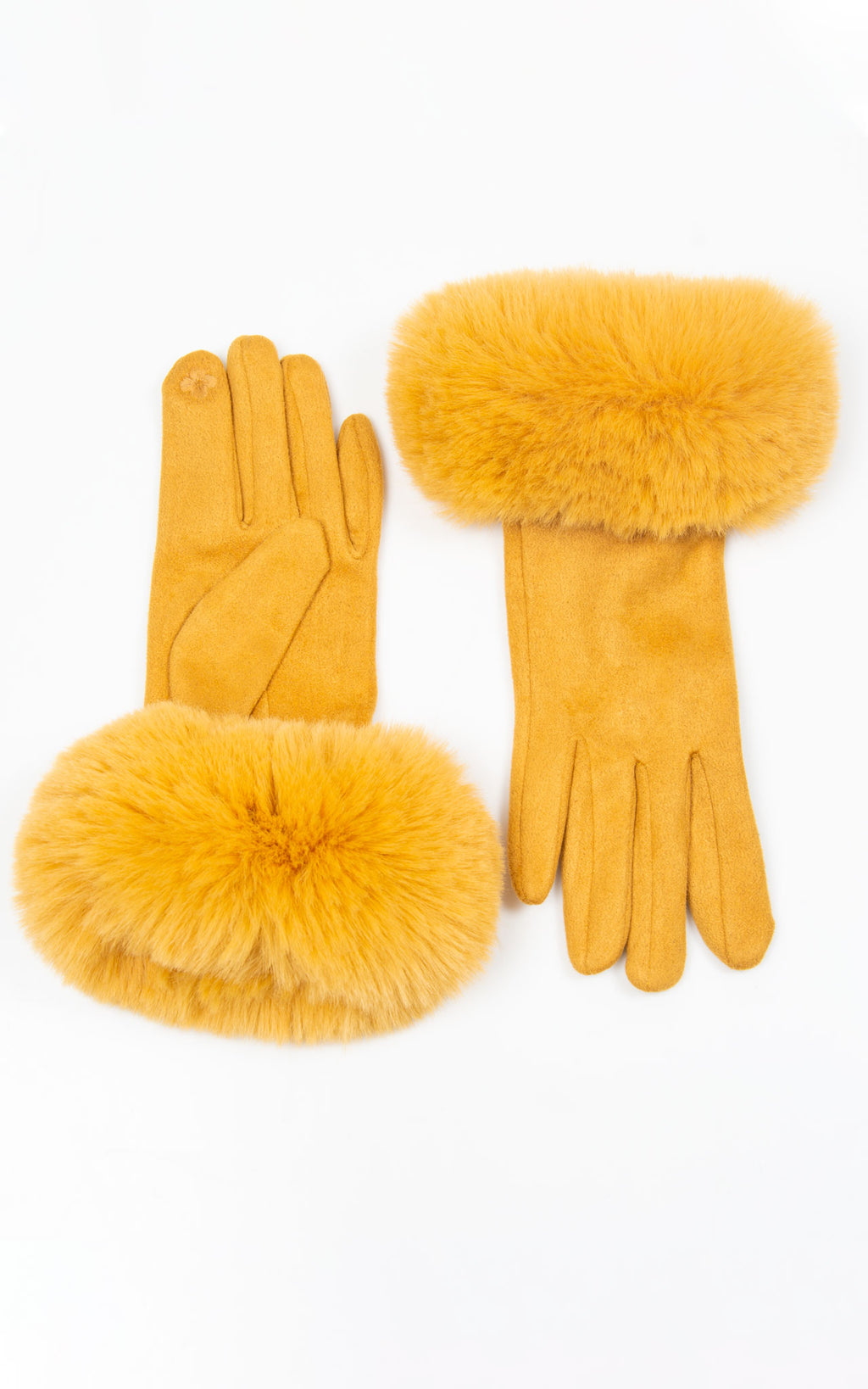 Faux Fur Gloves | Mustard