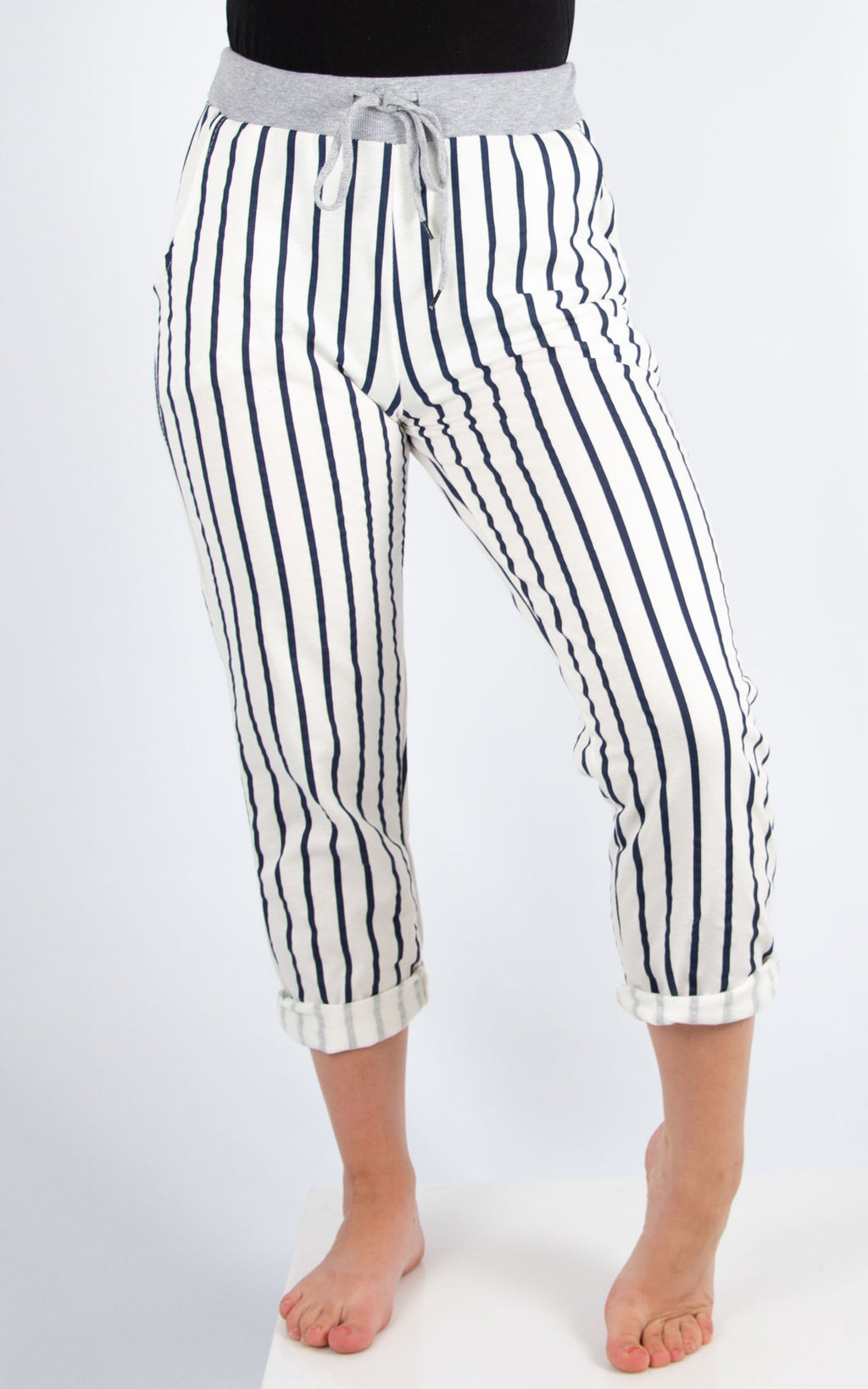 Navy Stripe Joggers | Made in Italy