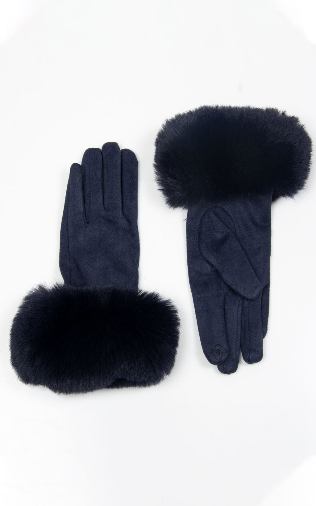Faux Fur Gloves| Navy
