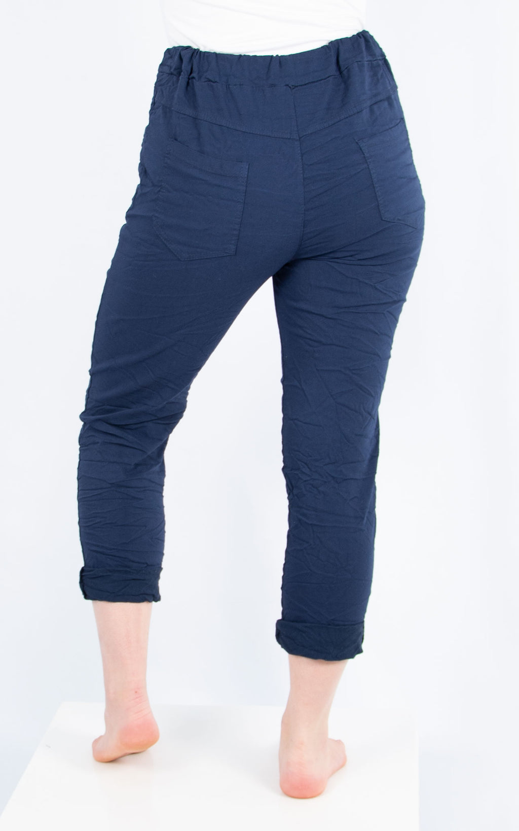 Navy Plain Crinkle Jogger | Made in Italy