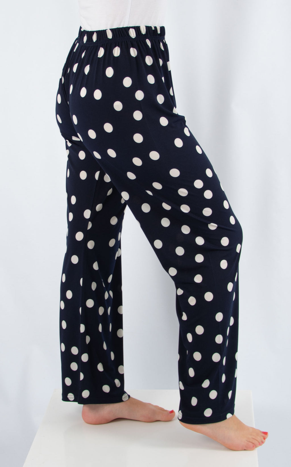 Navy Spot Patterned Trouser