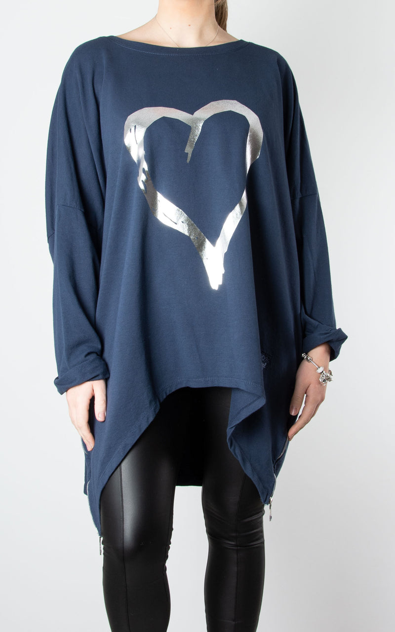 Navy Double Zip Heart Sweater
