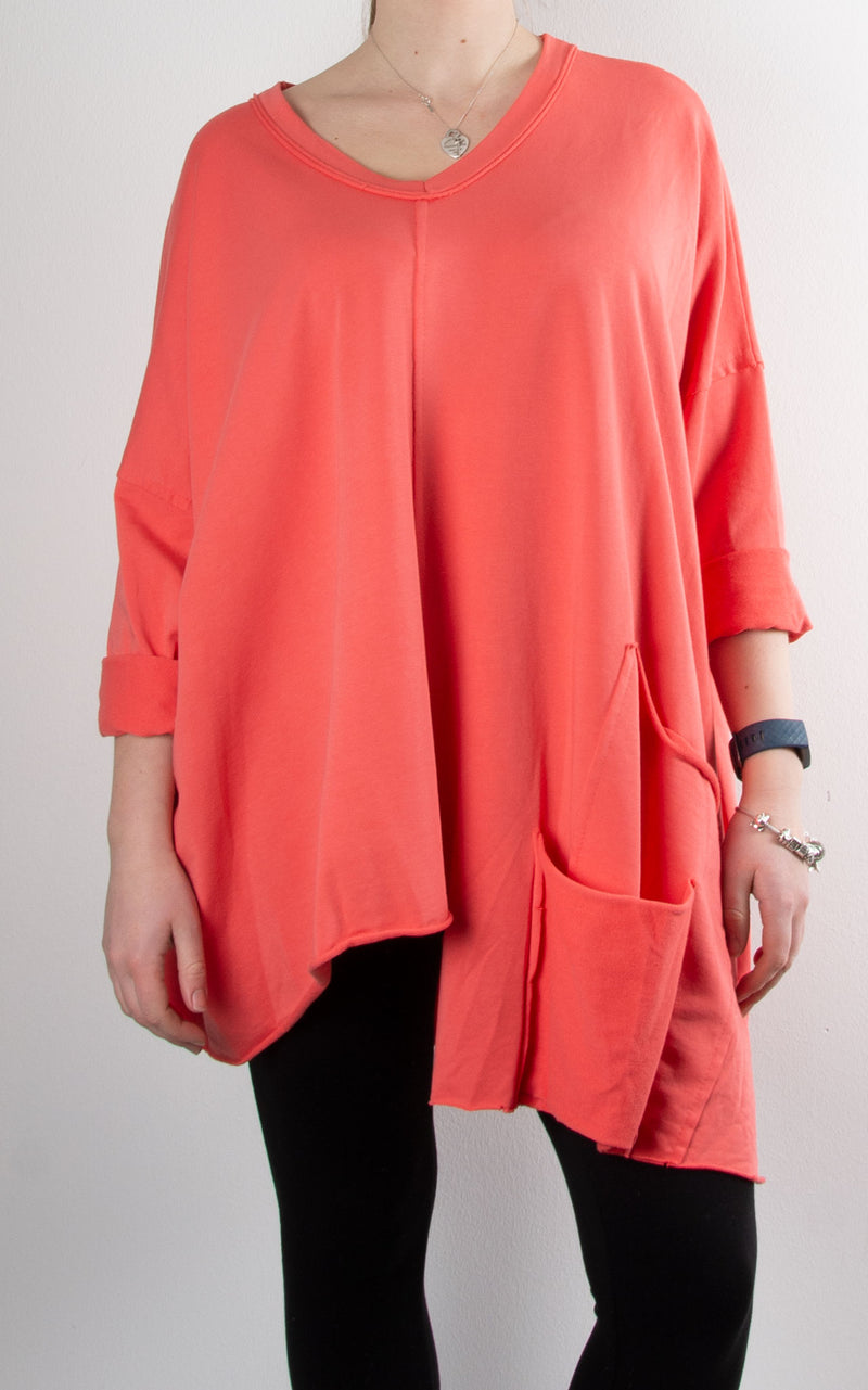 Nova V Neck Sweat | Coral