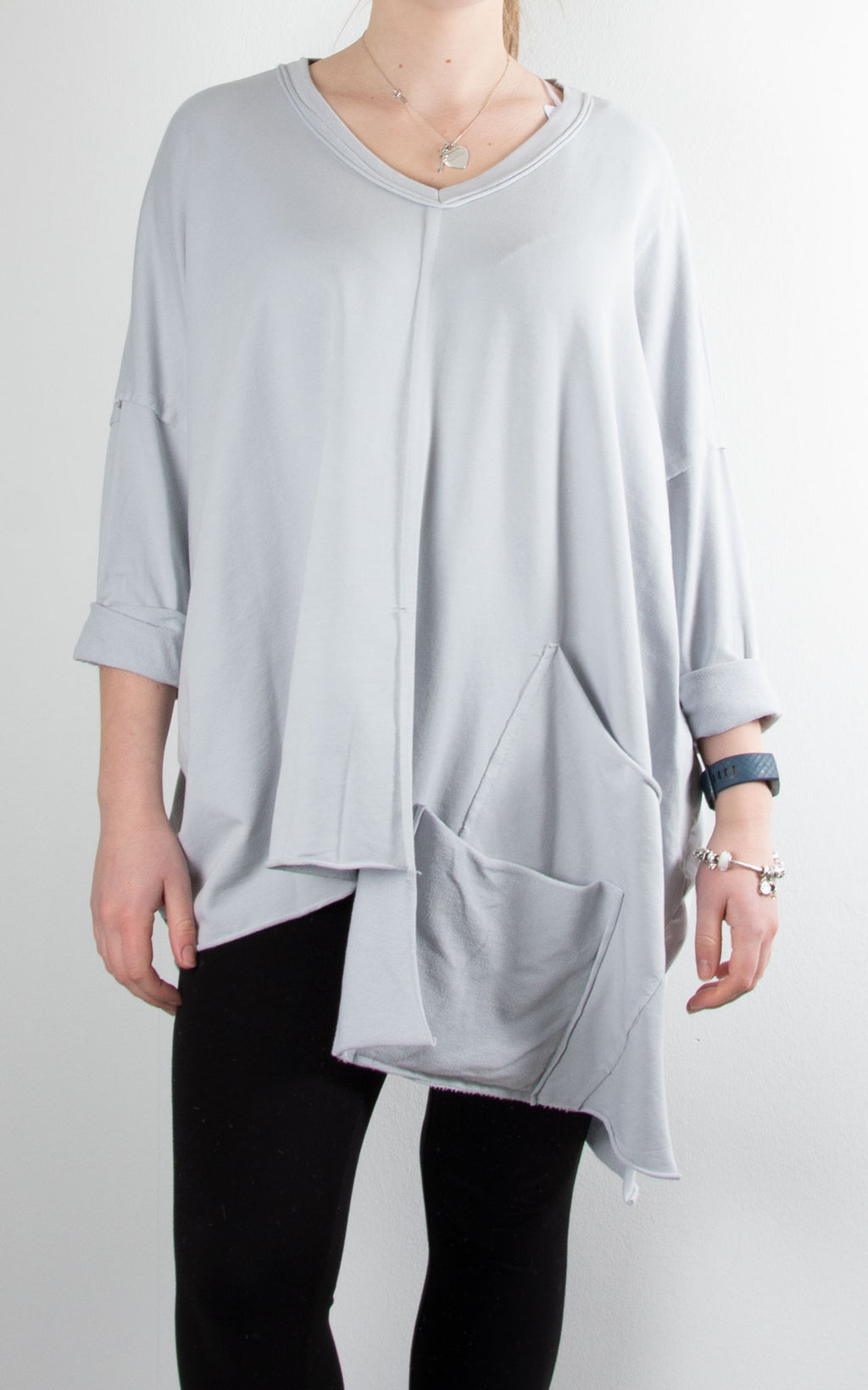 Nova V Neck Sweat | Light Grey