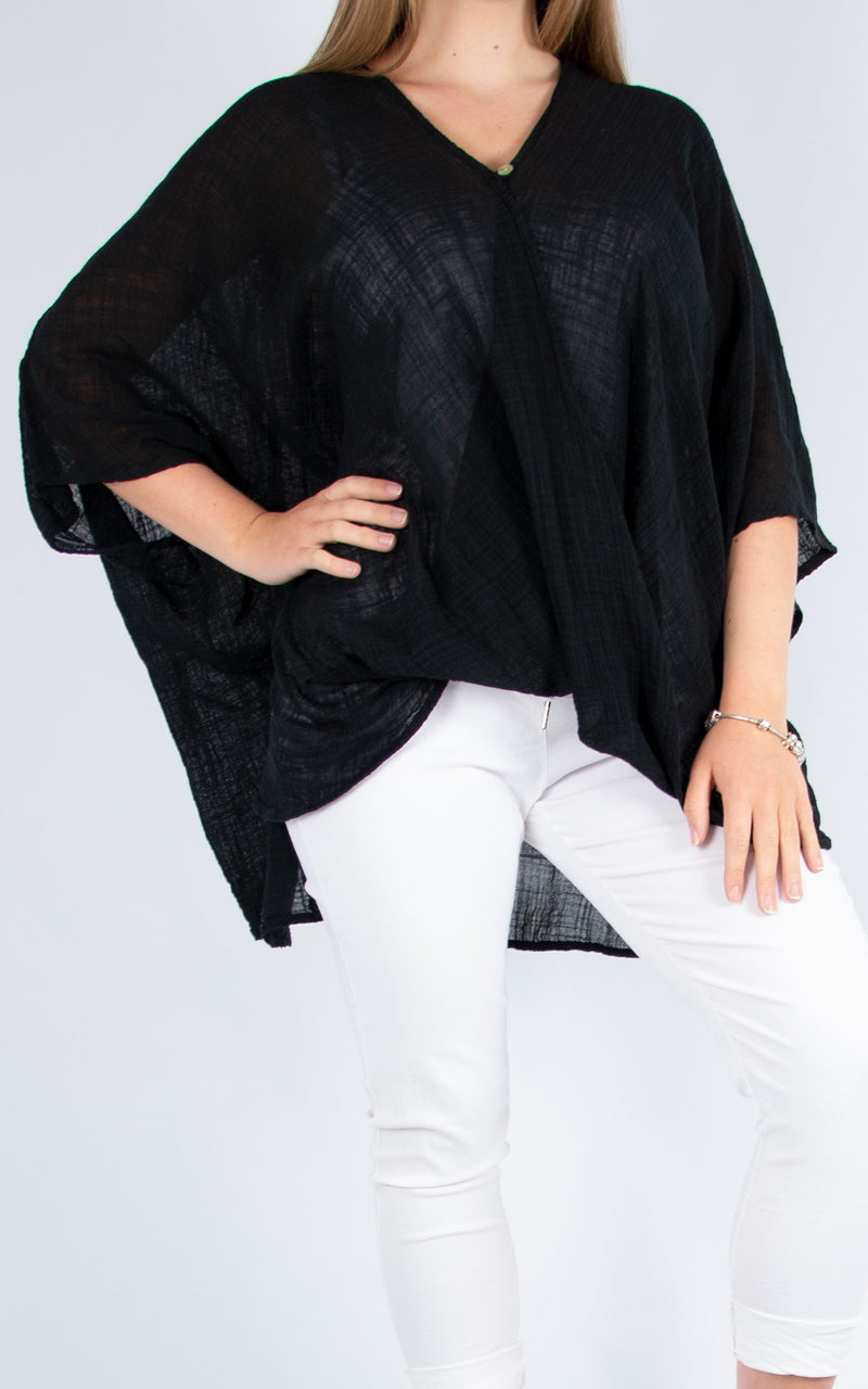 One Button Top - Black