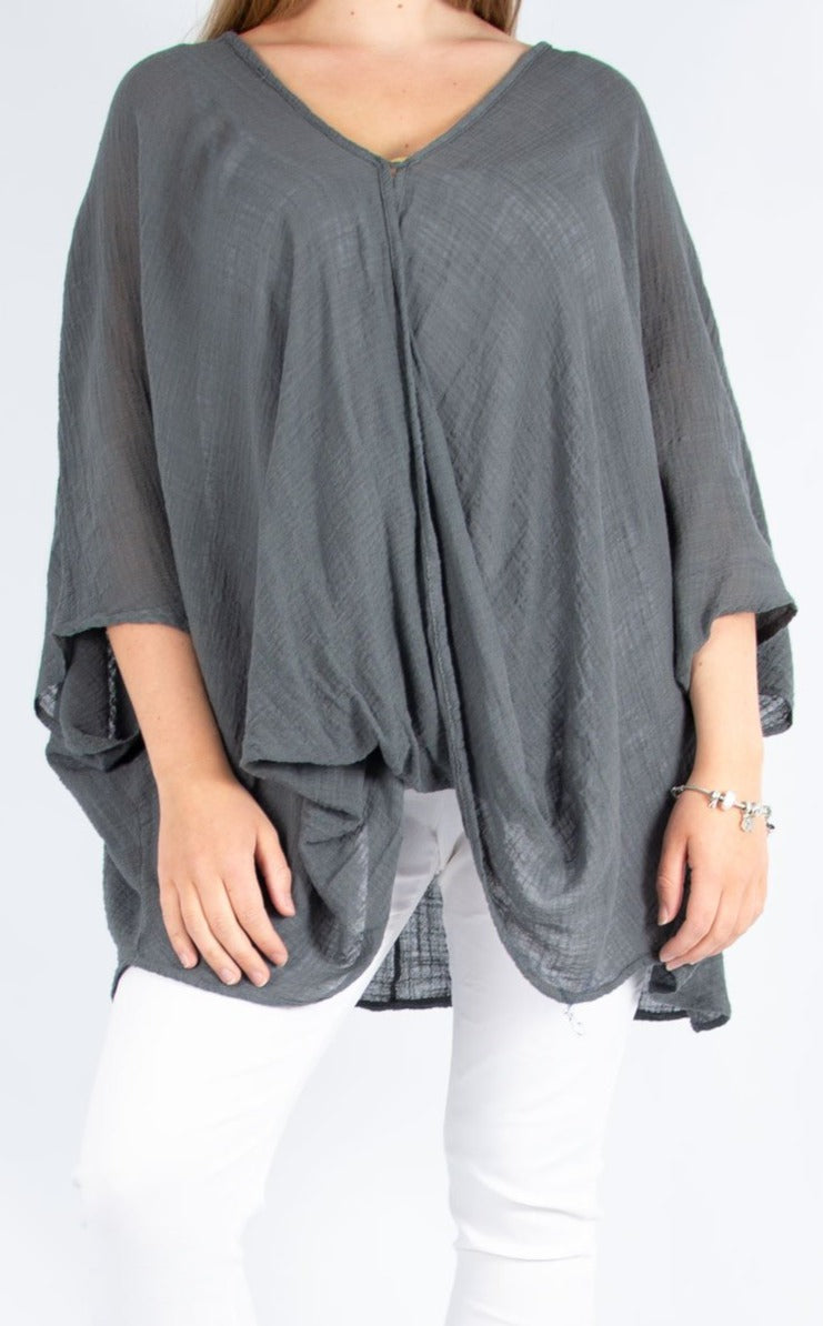One Button Top - Dark Grey