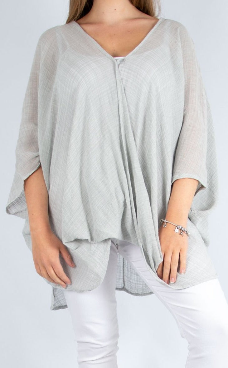 One Button Top - Light Grey