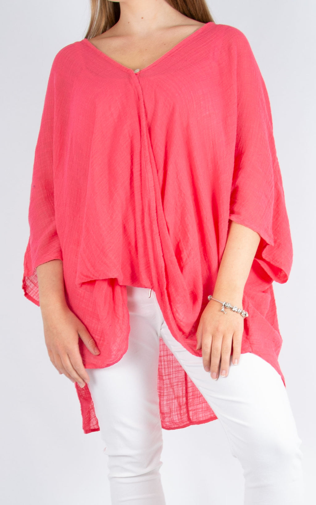 One Button Top - Fuschia