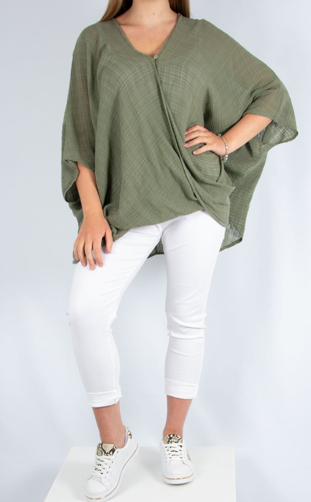 Khaki One Button Top | Made in Italy