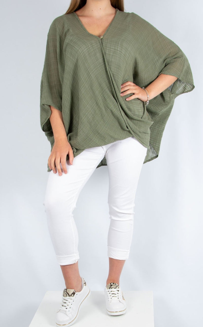 One Button Top - Khaki