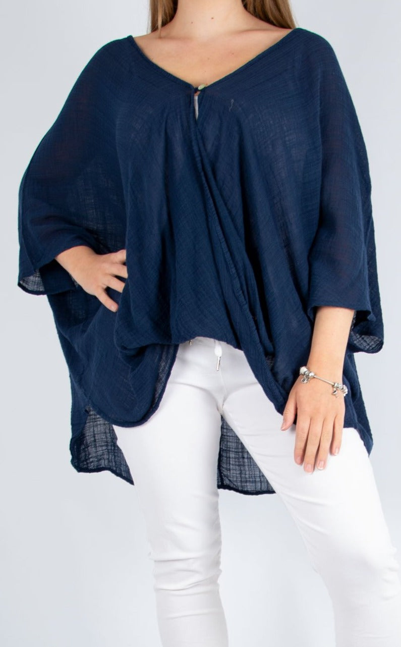 One Button Top - Navy