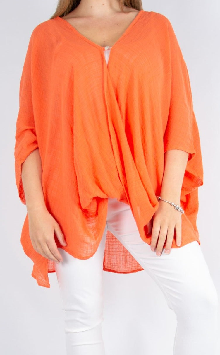 One Button Top - Orange