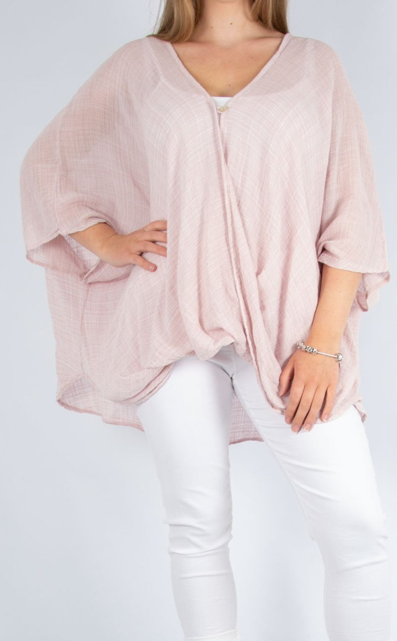 One Button Top - Pale Pink