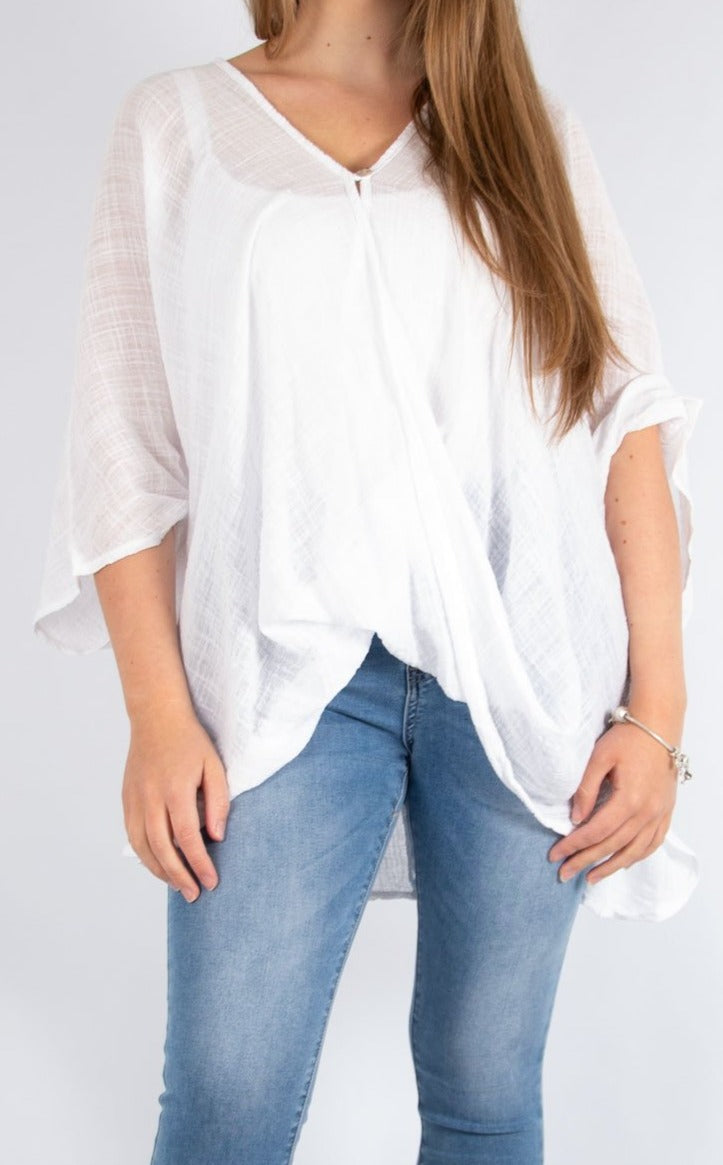 One Button Top - White