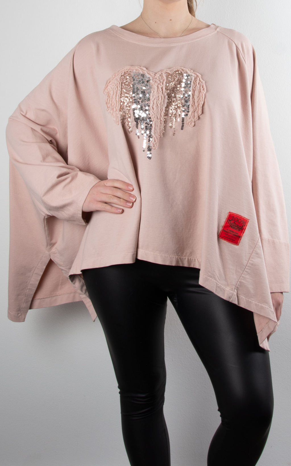 Oversized Heart Sweat | Pink