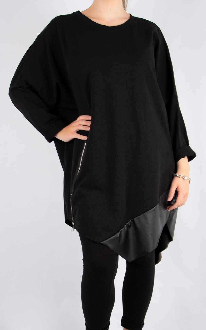 Black Zip PVC Tunic | Made in Italy