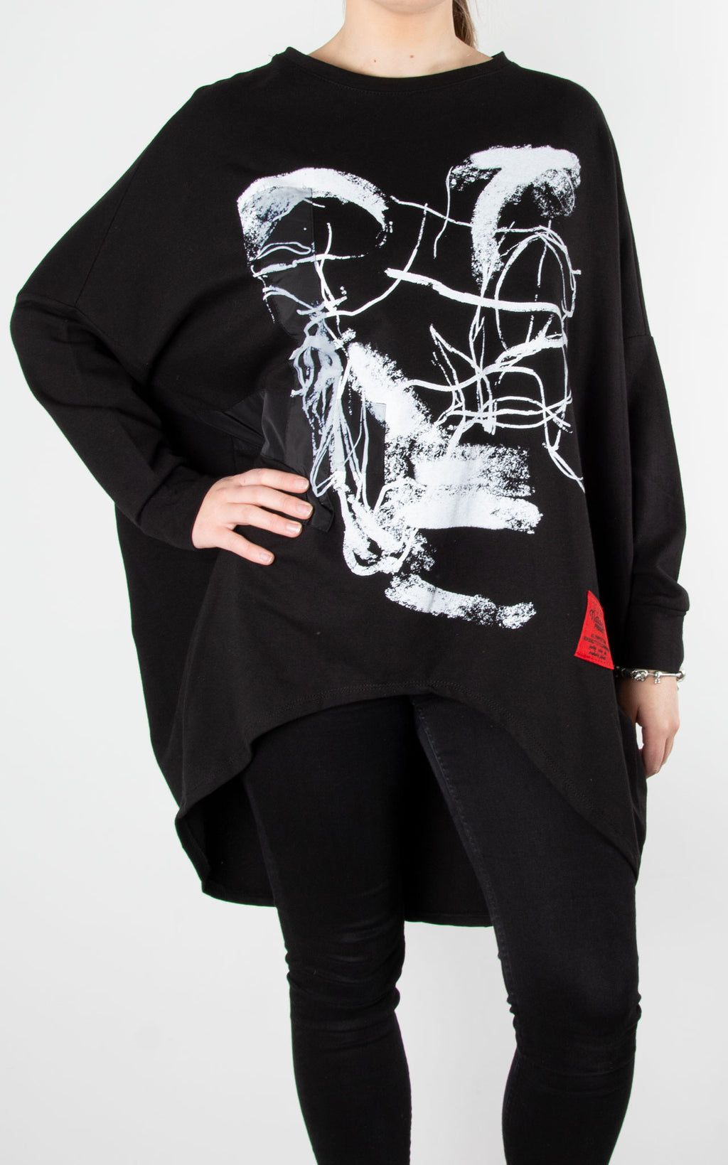 Paint Ribbon Sweat| Black