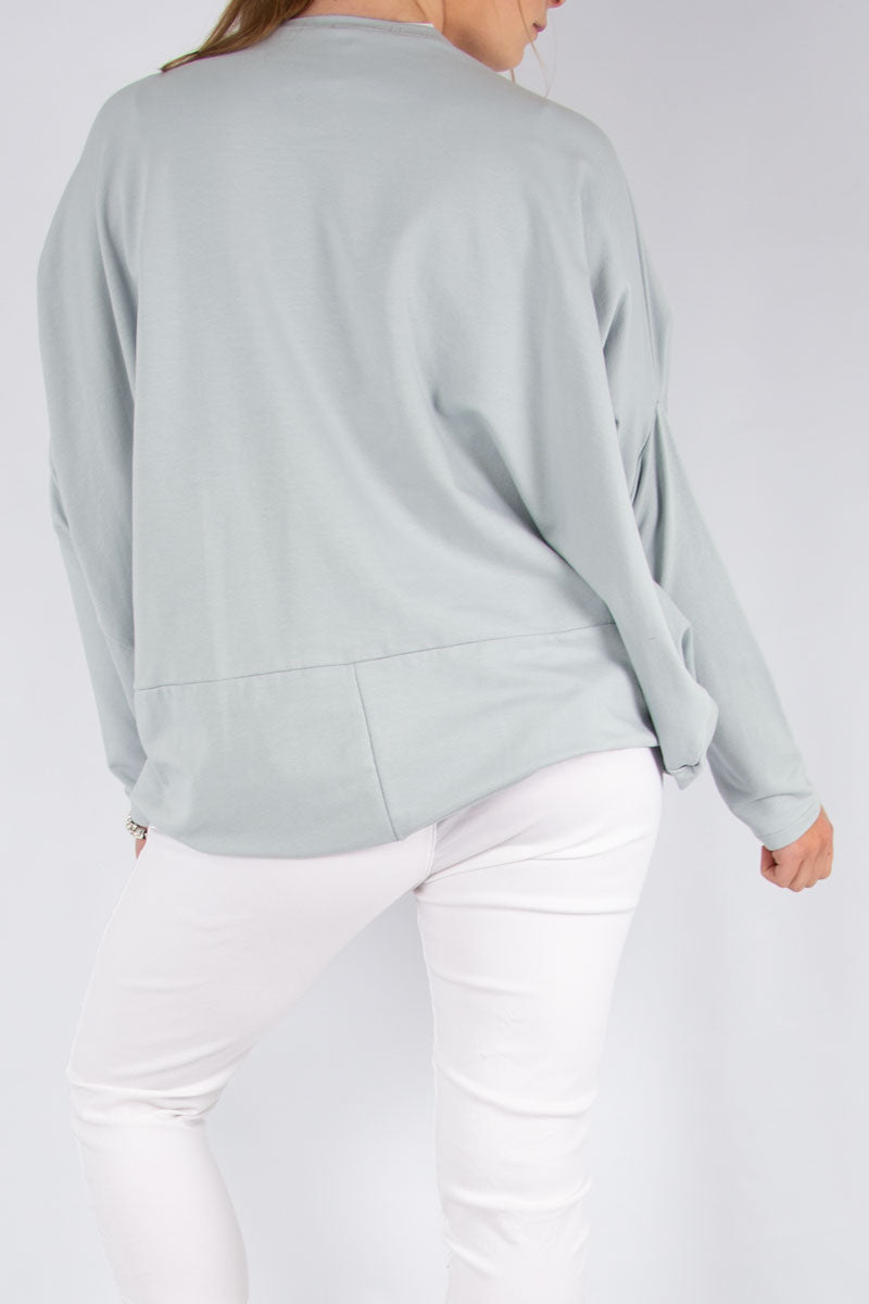 Light Grey Paint Print Batwing Sweat | Made in Italy