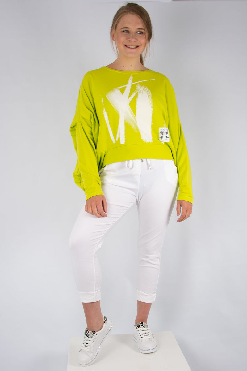 Lime Paint Print Batwing Sweat | Made in Italy