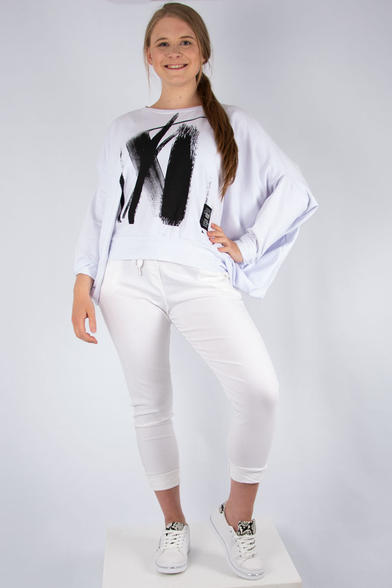 White Paint Print Batwing Sweat | Made in Italy