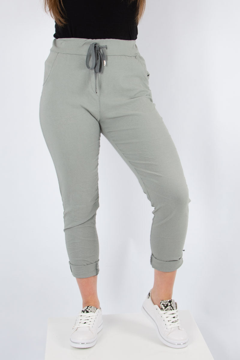 Light Grey Plain Stretch Joggers | Made in Italy