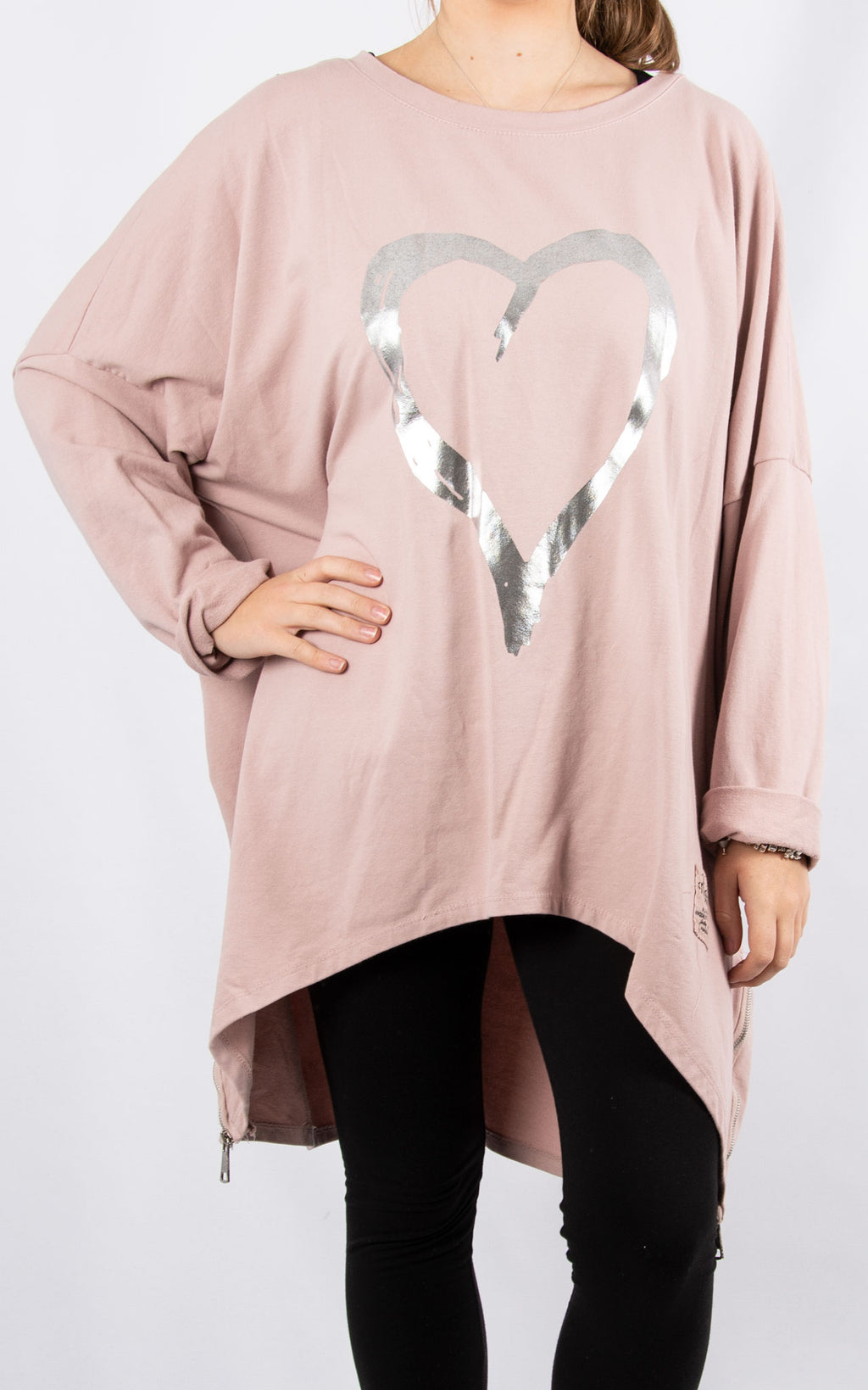 Pink Double Zip Heart Sweater