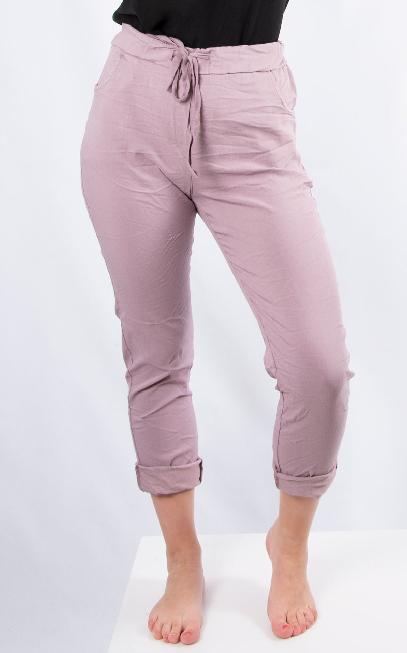 Dusky Pink Plain Crinkle Jogger | Made in Italy