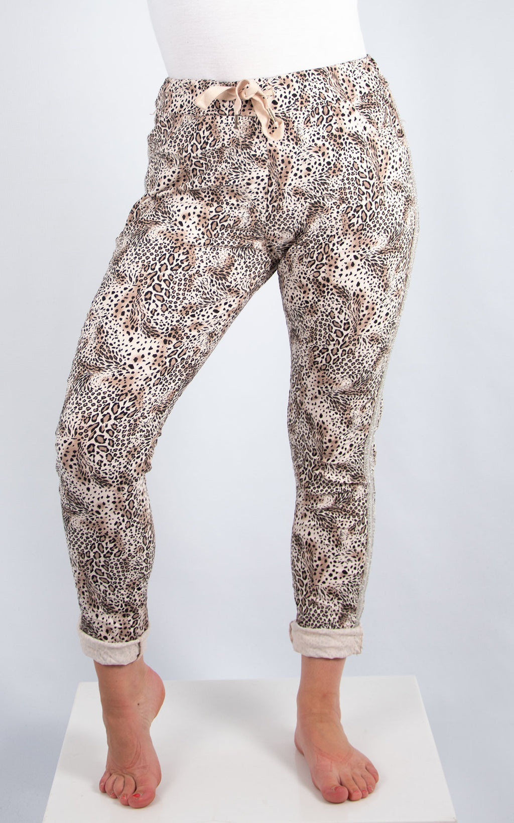 Pink Leopard Print Joggers | Made in Italy
