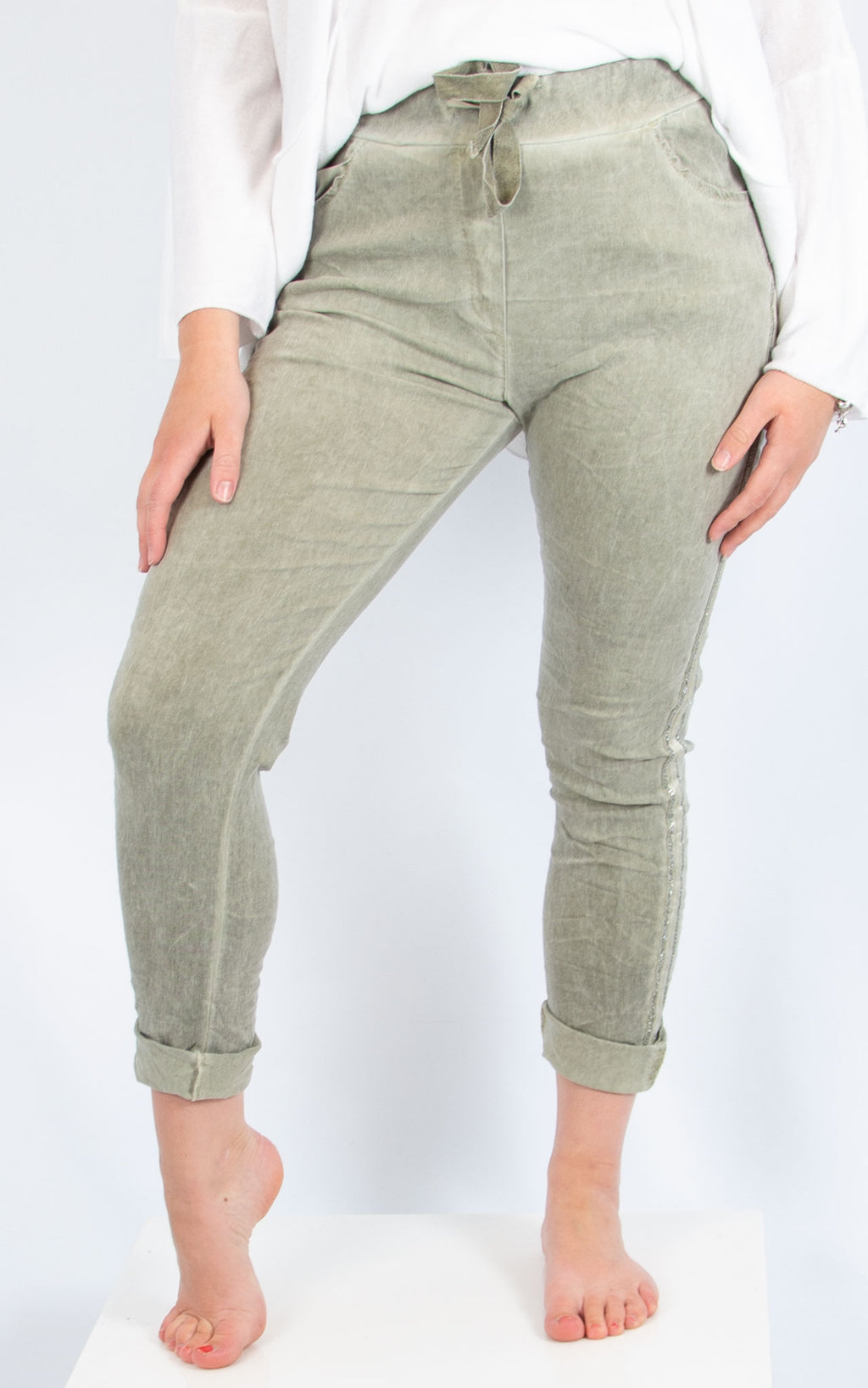 Khaki Side Trim Jogger |  Made in Italy