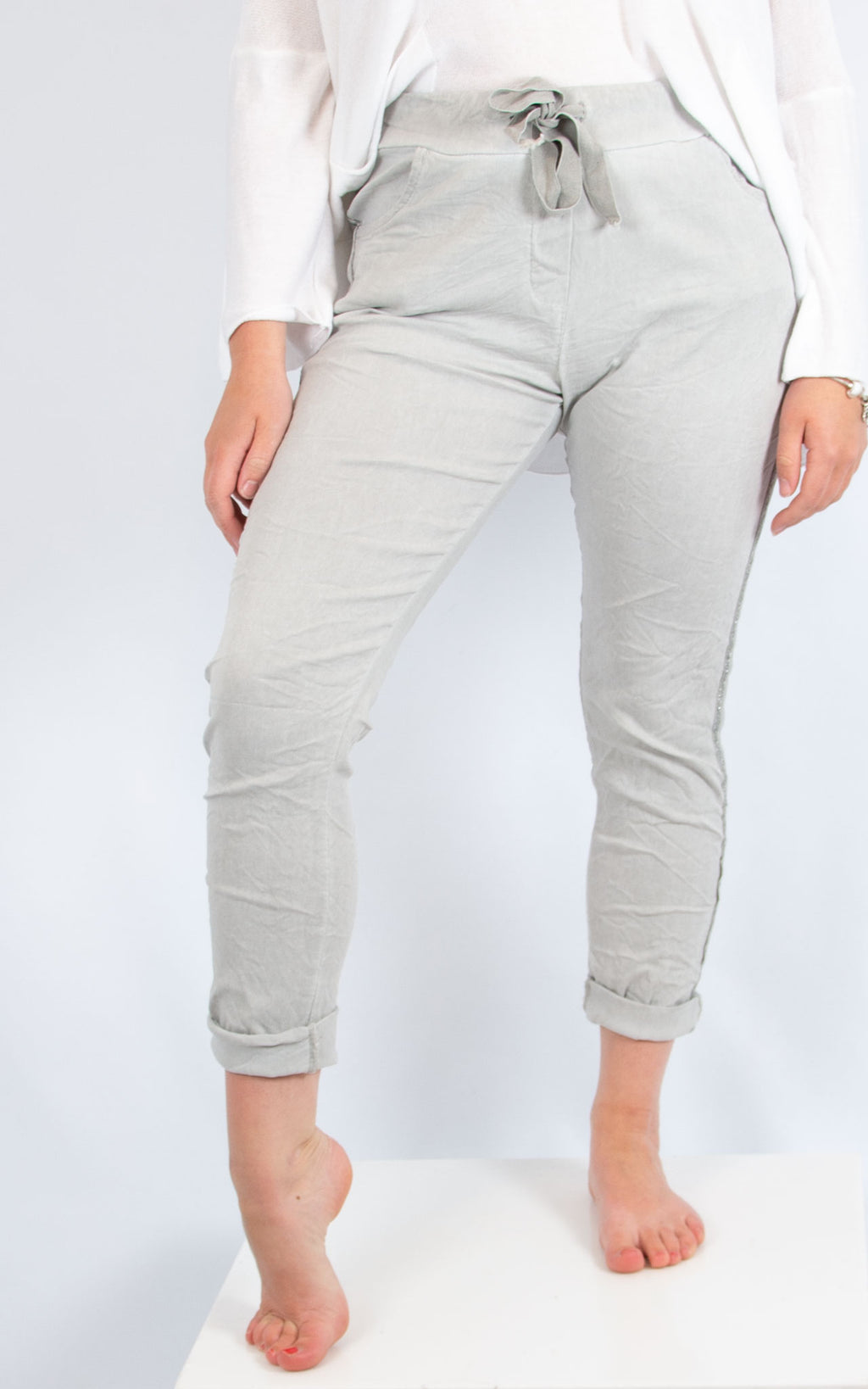 Light Grey Side Trim Jogger | Made in Italy
