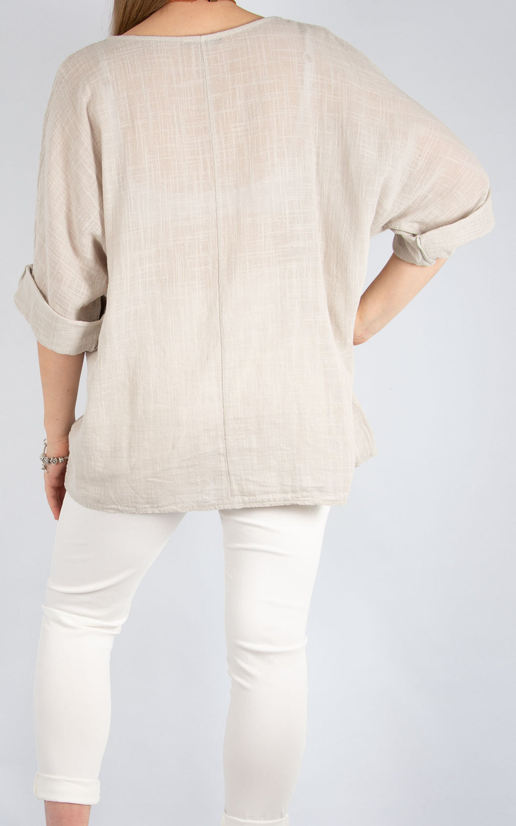 Beige Plain Cotton T | Made in Italy