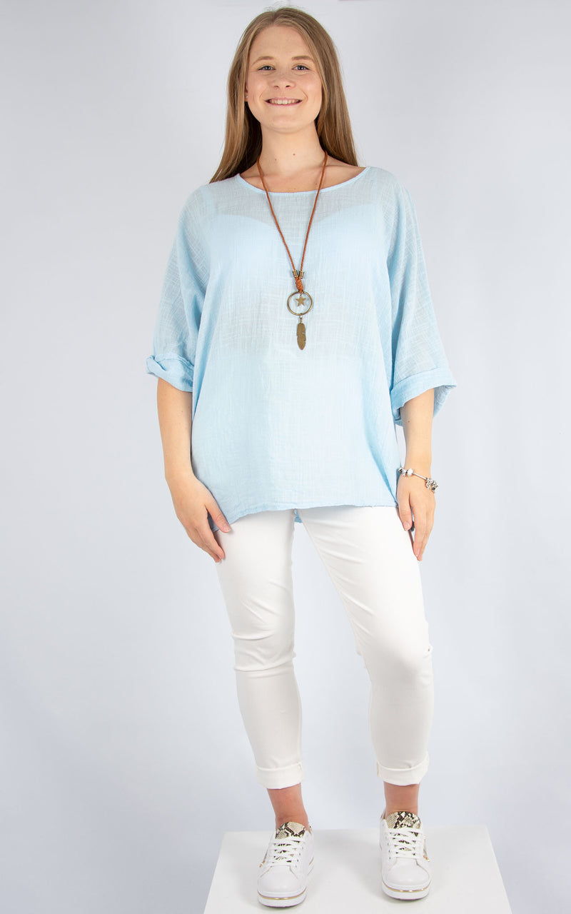 Sky Blue Plain Cotton T | Made in Italy