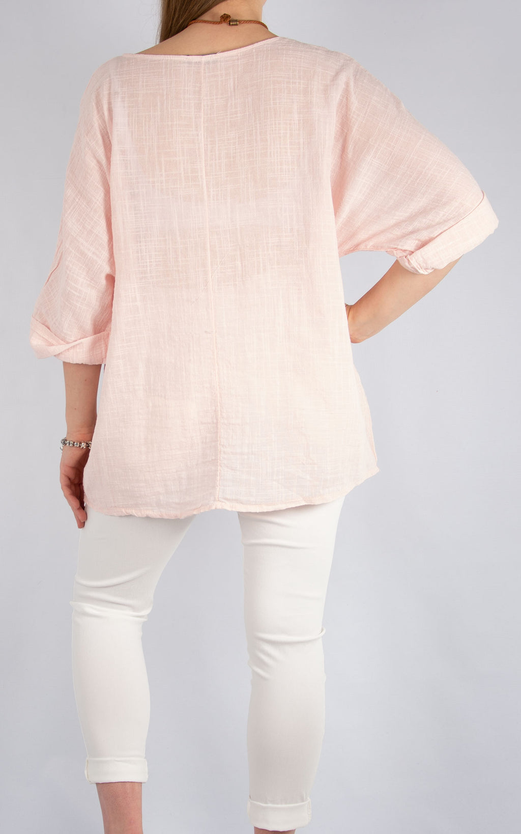 Pale Pink Plain Cotton T | Made in Italy