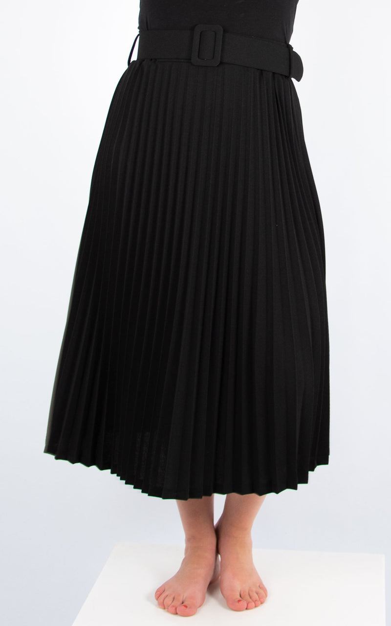 Pleated Belted Skirt | Black