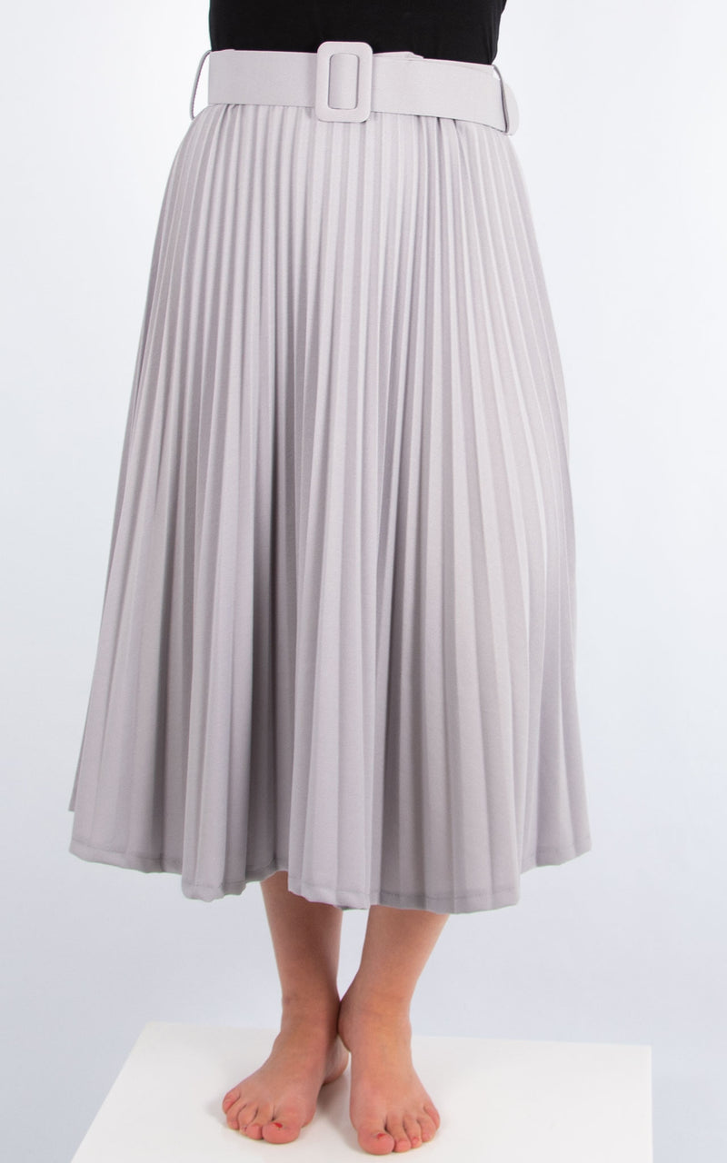 Pleated Belted Skirt | Pale Grey