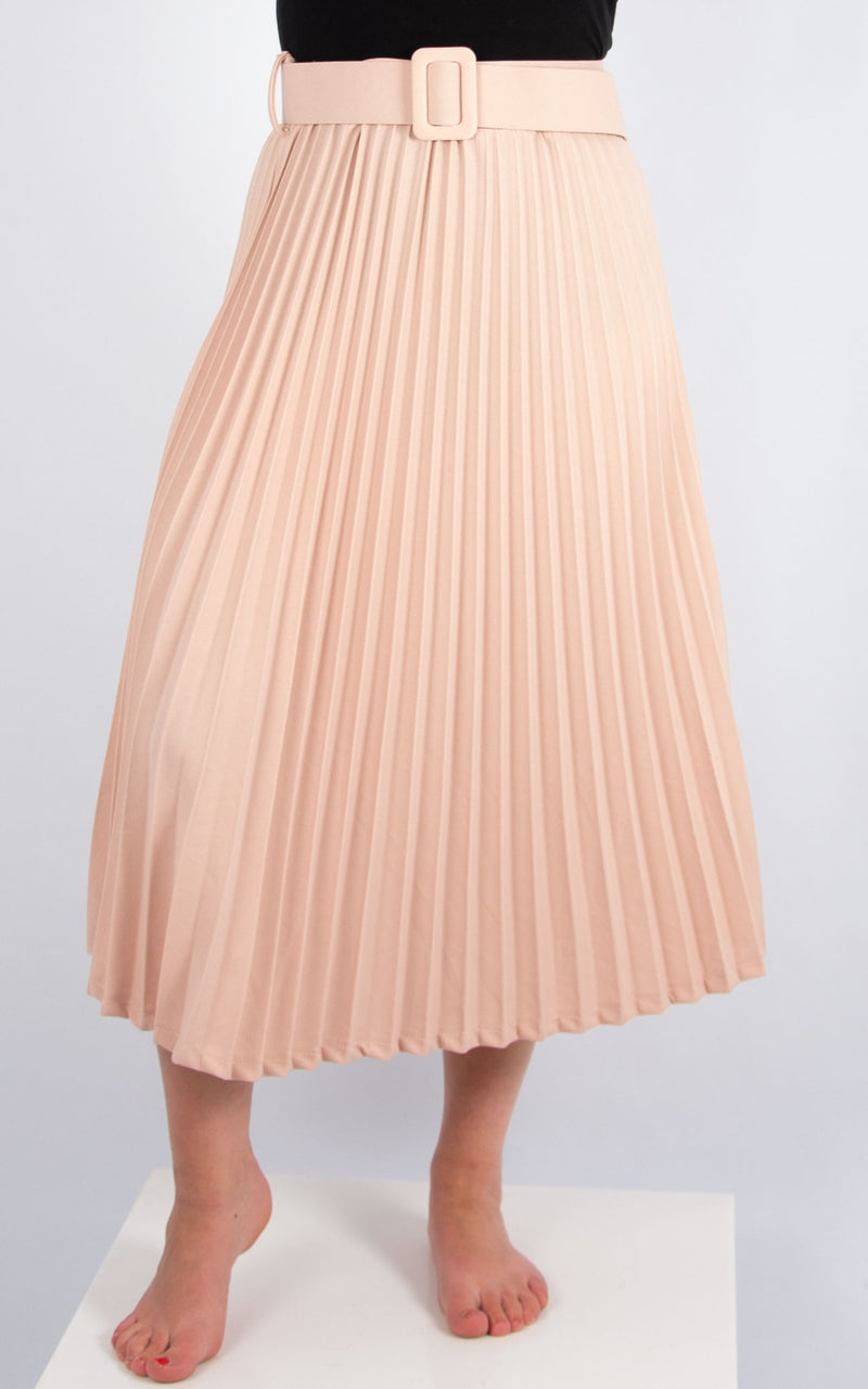 Pleated Belted Skirt | Pink