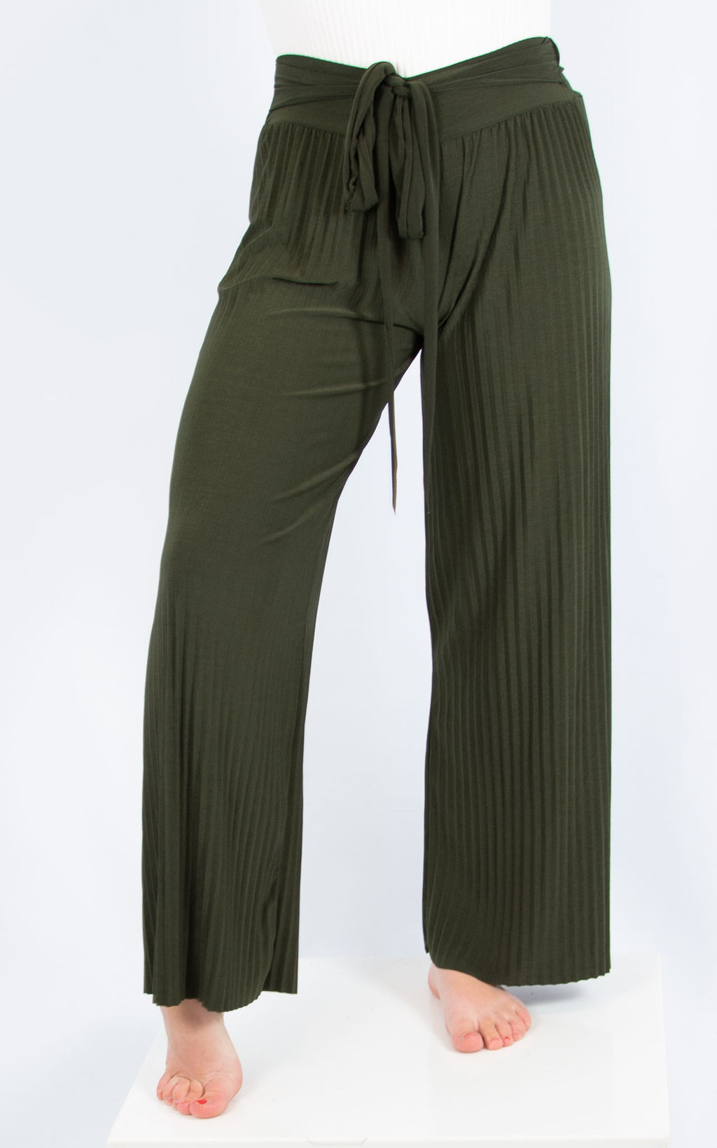 Khaki Pleated Trousers
